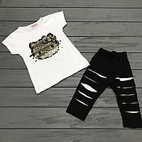 Детский комплект футболка и бриджи с двусторонними пайетками для девочек р.1-2 года, фото 1