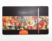 Набор профессиональных цветных  карандашей 36 штук Marco Renoir Fine Art в  металлическом пенале, фото 1