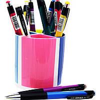 Подставка для ручек 4-х секционная цветная.