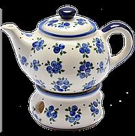 Заварочный керамический чайник 0,7L с подогревателем Чернички, фото 1