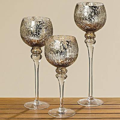 Набор стеклянных подсвечников 3 шт серебряное стекло h 30-40 см