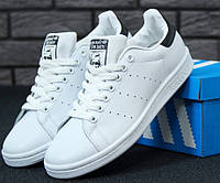 Кроссовки Adidas Stan Smith white/black. Живое фото! (Реплика ААА+)