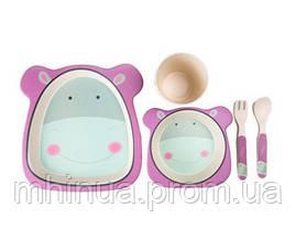 Набор детской посуды из бамбукового волокна Сафари Бегемот, фото 3