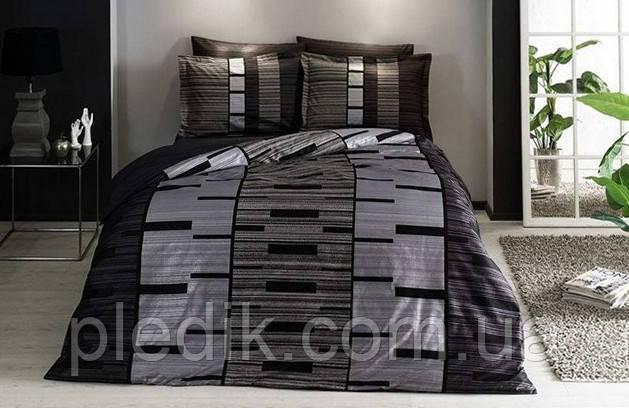 Комплект постельного белья 200х220 TAC DELUX-SATIN JOURNEY V01 серый