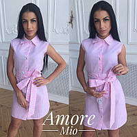 Платье рубашка без рукава в полоску с красивым поясом бантом Sml2437