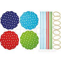 Салфетки для банок с вареньем с резинками и лентами 16 комплектов - Горохи