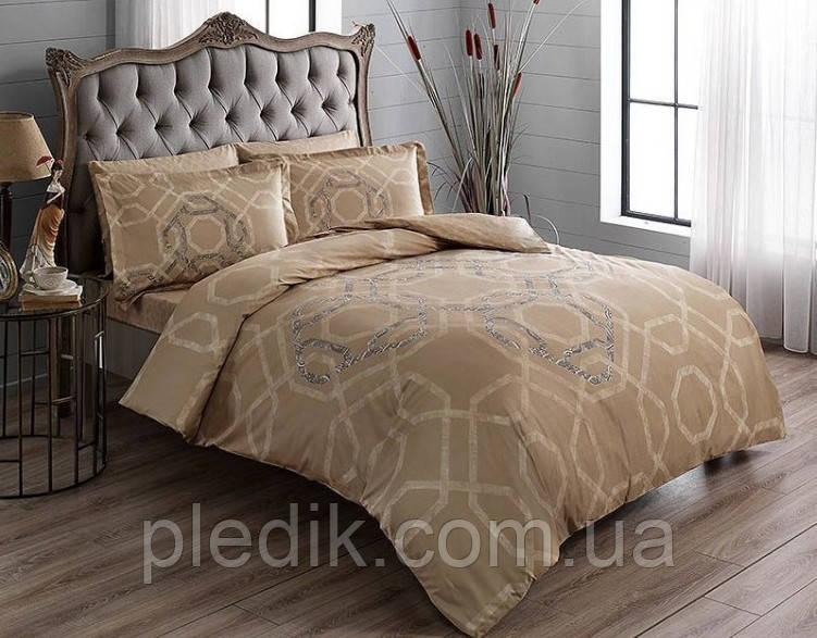 Комплект постельного белья 200х220 TAC DELUX-SATIN BENARD V01 золотой