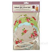 Салфетки для банок с вареньем с резинками и лентами 16 комплектов - Цветы