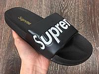Мужские шлепанцы\сланцы Supreme Slippers Black (Реплика AAA+)