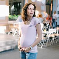 """Футболка для беременных и кормящих """"Рожева"""" c удобным секретом, для доступа к груди M S L XL, фото 1"""