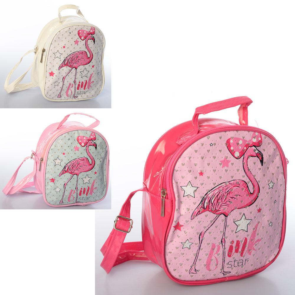 Сумочка X12821 (120шт) фламинго,1отд,застежка-молния,длин.и корот.ручк