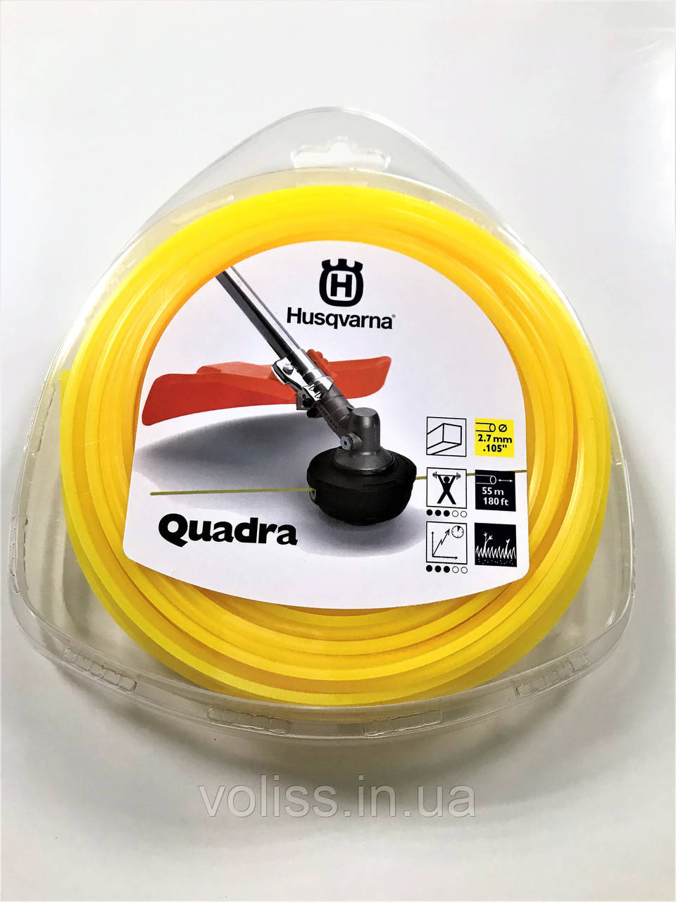 Косильная леска (корд) квадратная  Husqvarna 2,7мм/55м Quadra