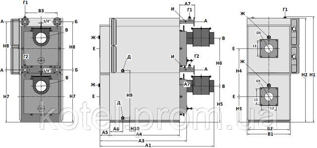 Газовый термоблок Колви 500 Д - основные размеры