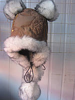 Шапка из плащевки с помпонами, фото 1