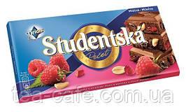 Шоколад Studentska Pecet  Mlecna s chuti Malin (Студентка с малиной и арахисом) 180 гр. Чехия