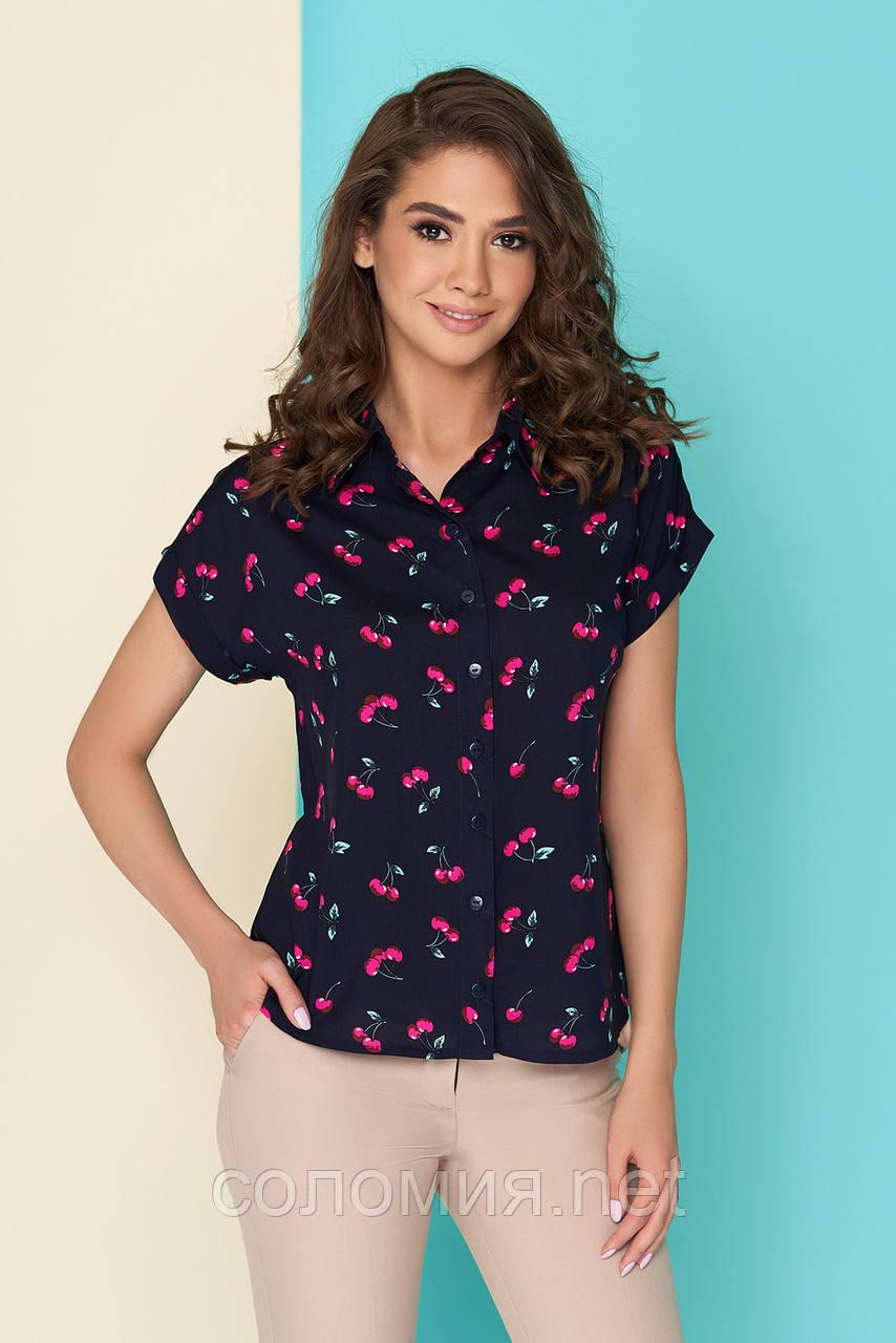 Штапельная блуза с оригинальным принтом 42-46р