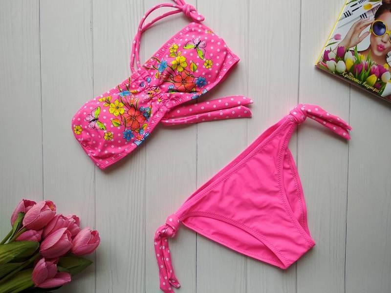 Пляжный купальник для девочки в горошек с цветочным принтом 32-38 р