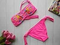 Пляжный купальник для девочки в горошек с цветочным принтом 32-38 р, фото 1