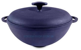 Сковорода чугунная WOK с чугунной крышкой Ситон. Объем 5,5 литров.