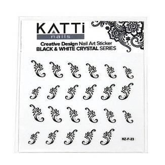 KATTi Наклейки клейкие Crystal Black/White HZ-F 23 ч/б стразы , фото 2