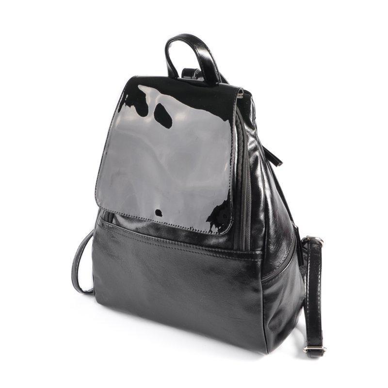 Женский повседневный черный модный рюкзак М104-27 лак - Интернет-магазин  Dobrasumka в 26d5942077e