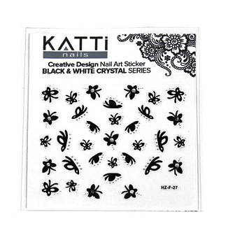 KATTi Наклейки клейкие Crystal Black/White HZ-F 27 ч/б стразы , фото 2