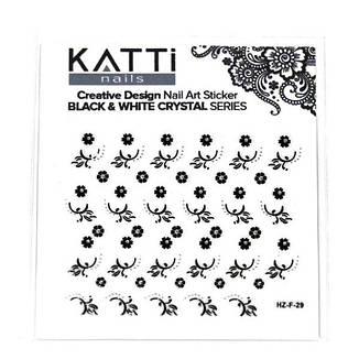 KATTi Наклейки клейкие Crystal Black/White HZ-F 29 ч/б стразы , фото 2