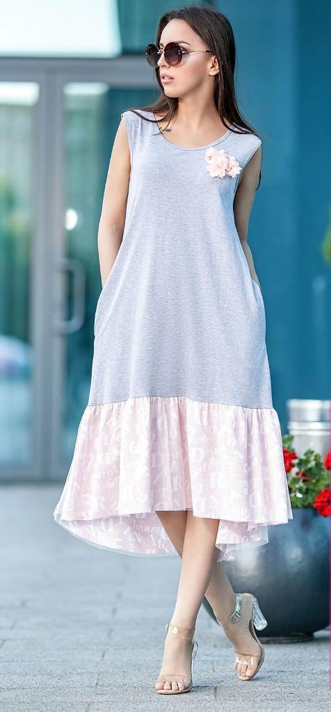 Летнее платье-сарафан с асимметричным низом и карманами 42-48 р Аннэт