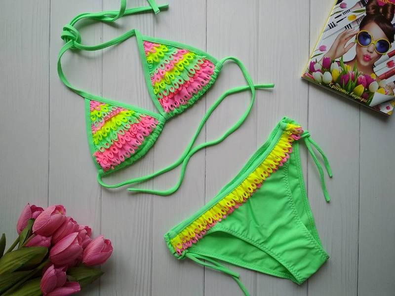 Раздельный купальник для девочки с разноцветной бахромой 34-42