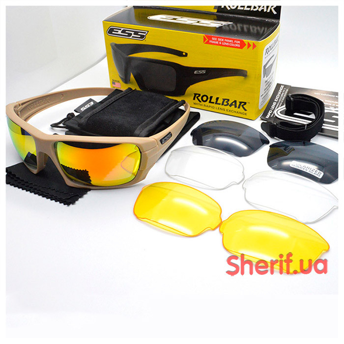Тактические очки ESS Rollbar 4LS Kit TAN 10626