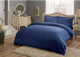 Постельное белье Tac Premium Basic Saks синий евро размер