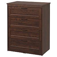 IKEA SONGESAND Комод, 4 ящика, коричневый  (603.667.89)