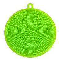Круглая силиконовая мочалка (салатовая), фото 1
