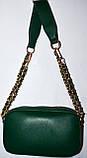 Женский блестящий зеленый клатч на ремешке цепочке 21*12 см, фото 2