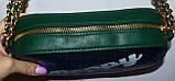 Женский блестящий зеленый клатч на ремешке цепочке 21*12 см, фото 3