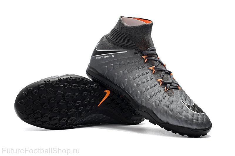 Бутсы сороконожки Nike HypervenomX Proximo TF grey/black с носком