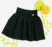Юбка школьная детская, кружево, размер s, m, l, черный,