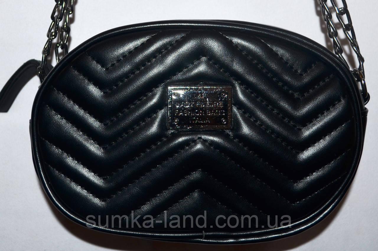 Женский модный черный клатч-пояс на цепочке 18*12 см