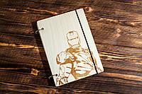 """Блокнот А5 из дерева """"Железный человек. Iron Man"""""""