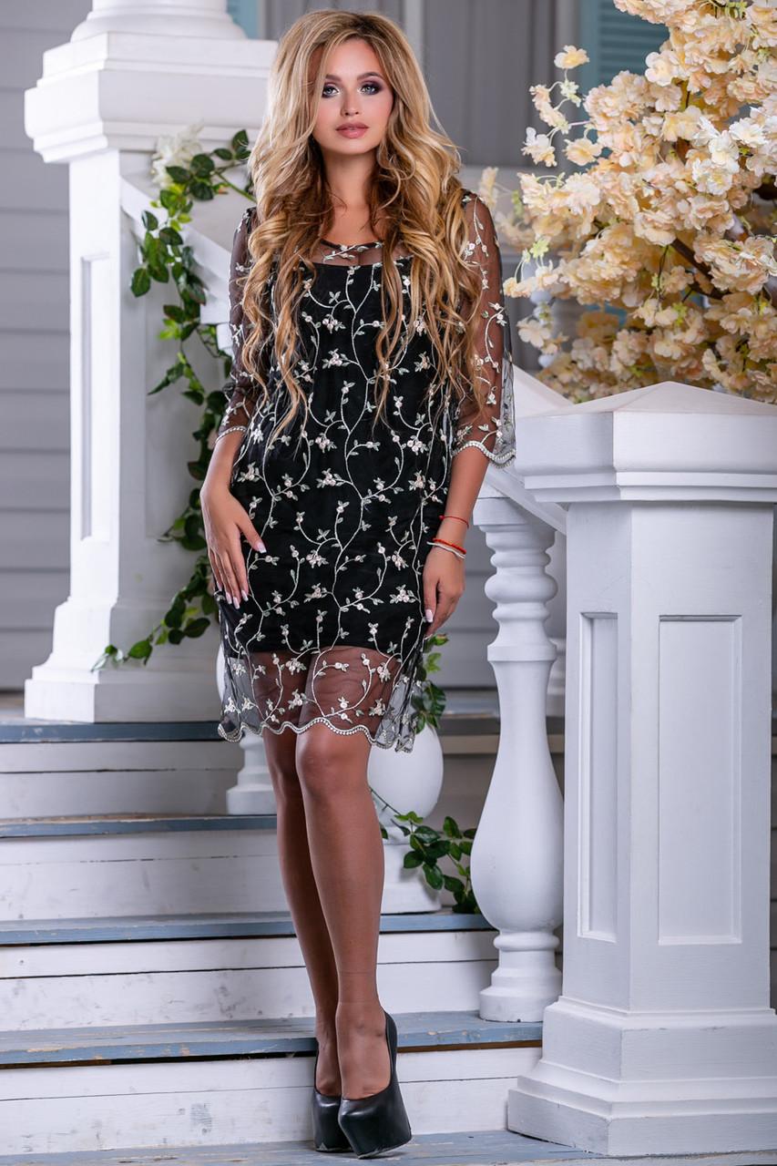 Красивое нарядное летнее платье 2677 черный с бежевой вышивкой