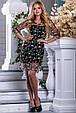 Красивое нарядное летнее платье 2677 черный с бежевой вышивкой, фото 3