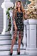 Красивое нарядное летнее платье 2677 черный с бежевой вышивкой, фото 4