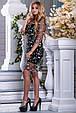 Красивое нарядное летнее платье 2677 черный с бежевой вышивкой, фото 5