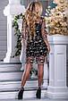Красивое нарядное летнее платье 2677 черный с бежевой вышивкой, фото 6