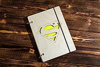 """Блокнот А5 из дерева """"Супермен. Superman"""""""