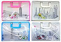 ПАПКА-ПОРТФЕЛЬ A-4 716 Bicycle travel на змейке, метал.креплен. ручки, пластик