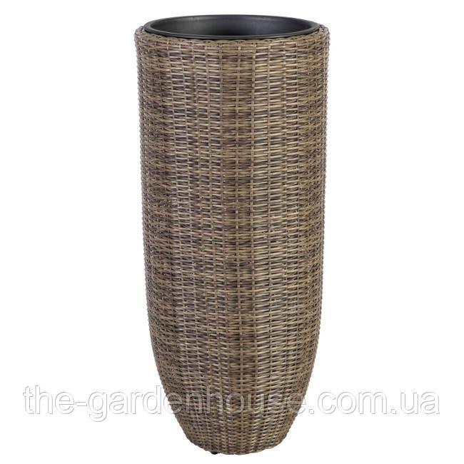 Кашпо для цветов Wicker из искусственного ротанга 46x105 см, темно-коричневое