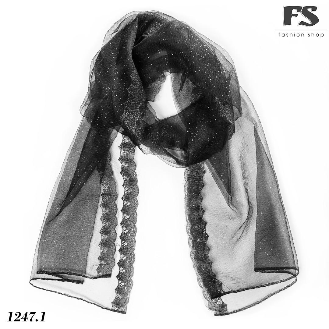 Чёрный лёгкий  шарф-