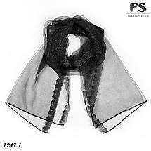 Чёрный лёгкий  шарф-, фото 3