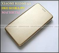 Shemax золотой чехол книжка Xiaomi Redmi 5a Gold, встроенный магнит, противоударный + эко кожа PU